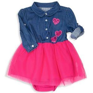 NEW Guess Baby Girl 24M Denim Mesh Tulle Dress